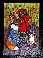 """Original art by Bastet """"Cat, Fox and Hare"""" OOAK hand painted ACEO"""