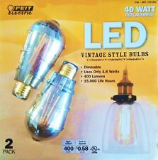 Feit LED Vintage Style Light Bulb 4.8W 40W Watt Edison 2 Pack