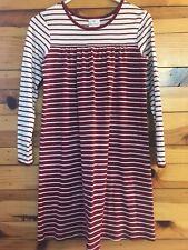 Hanna Andersson Striped Dress EUC Girls Dark Red & Ivory Long Sleeve 150 12-14