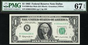 1963 1900-Km $1 Dallas *MULE Federal Reserve Note FRN • PMG 67 EPQ • TOP POP 5/0