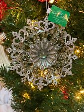 "New Kurt Adler 5.1"" Sage Green Snowflake With Glitter Christmas Ornament!"