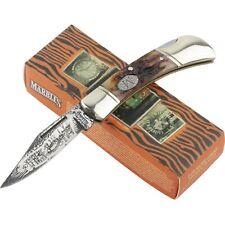 Marbles Etched Damascus Stag Bone Handles Lockback Folding Pocket Knife MR270