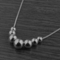 Genuine 925 Sterling Silver Gradulated Bead Ball Necklace 18 Inches / 45.5cm