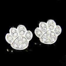 w Swarovski Crystal Dog KITTY CAT Kitten Pawprint Paw Print Animal Earrings Xmas