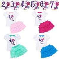Baby Girls Kid It's My Birthday Outfit 2/3/4/5/6/7 Printed Party Tutu Skirt Sets
