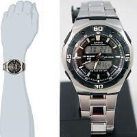 Casio AQ-164WD-1A Mens Digital Analog Watch Steel Sports Lap Memory 3 Alarms New