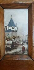 ANTIQUE PAINTED DUTCH GOUDA ZUID-HOLLAND TILE 19TH C. FRAMED IN ANTIQUE PANEL