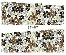 Brown Flower 3D Nail Art Sticker Decal Decoration Manicure Water Transfer