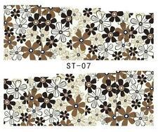 braun Blumen 3D Nail Art Sticker Aufkleber Dekoration Maniküre Wassertransfer