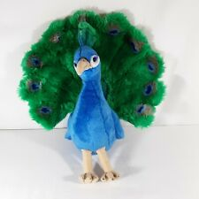 "FAO Schwartz Peacock Plush Stuffed Animal 14"" Blue w Green Feathers"