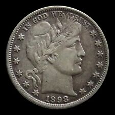 1898 SILVER BARBER HALF DOLLAR COIN EXTREMELY FINE CONDITION