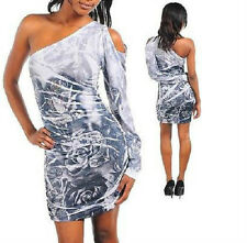 Sexy One Shoulder Sublimation Print Cocktail Clubbing Dress Junior's Large NEW