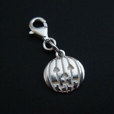 Sterling Silver Bracelet Charms-Silver Pumpkin Disc Charm -Add on Charm - 1piece