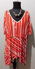 Immaculate Size M Taking Shape Orange & White Viscose/Elastane Top- 63cm Bust