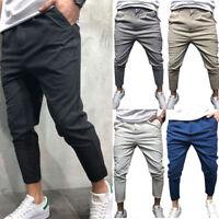 Mens Skinny Jogger Pants Urban Hip Hop Harem Formal Casual Trousers Long Slacks