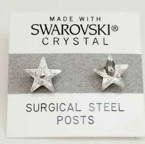 Silver Star Stud Earrings 10mm Crystal Small Made with Swarovski Elements