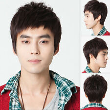 100% Real hair! Korean Fashion Handsome Men's Short Brown Human Hair wigs