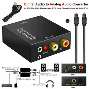 Optical Coaxial Toslink Digital to Analog Audio Converter Adapter RCA L /R New