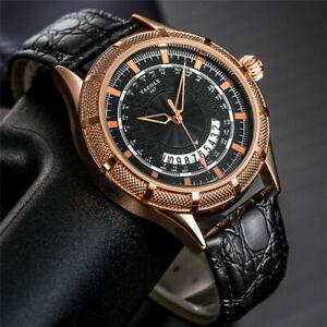 Casual YAZOLE Men's Business Quartz Analog Wrist Watch Leather Bracelet Band Box