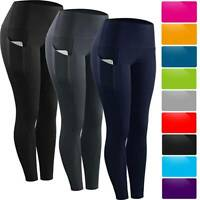 Womens Leggings Capri Yoga Pants Pocket Gym Fitness Training Running Sports Crop