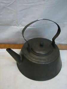 Early Antique Tin Teapot Tea Kettle Camping Travel Wood Knob Primitive Hearth