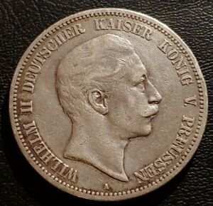 German States, Prussia, 1898A, 5 Mark Silver Coin.