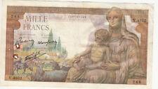 Billet banque DEMETER 1000 F 11-02-1943 MZ V.4032 état voir scan trous d'épingle