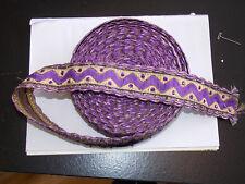 Violet 35 mm Or Cristal brodé ruban Applique Parage decor tresse