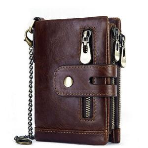 Men's RFID Blocking Wallet Genuine Leather Purse Card Slots Coins Holder Chain