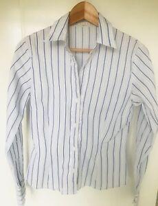 Austin Reed Womens Natural Stripe Cotton Long Sleeve Smart Shirt - Size 8 VGC