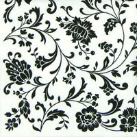 4x Single Table Party Paper Napkins for Decoupage Arabesque White and Black