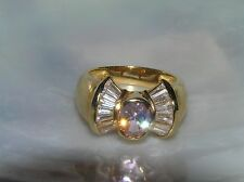 Estate Classy 925 Marked Gold Washed Oval Pink Rhinestone Flanked By Clear Bague