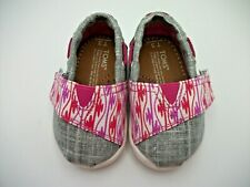 Toms T3 Canvas Slip On Shoes Infant Girl Pink Red Gray Boat Walking Sneakers EUC