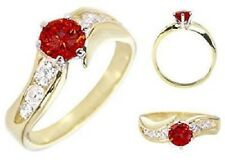14K GOLD EP 1.85CT DIAMOND SIMULATED RUBY RING 7 or O