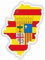 Pegatina SILUETA ARAGON ARAGÓN ESPAÑA MAPA Bandera Para Parachoques Bloqueo