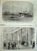 Antique Old Print Prince Wales Constantinople Ships 1869 Ball Embassy Art 19th