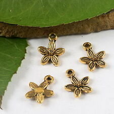 200pcs dark gold-tone plum flower charms h2116