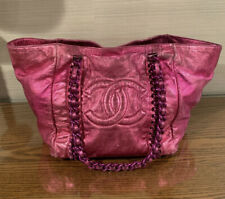 RARE Authentic Chanel Vintage XL Metallic Pink Leather CC Shoulder Tote Bag