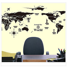 World Map Removable Wall Sticker Black For Home Office Art Craft Decor 60*90cm