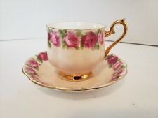 Rare Royal Albert Old English Rose on Peach Tea Cup and Saucer Set