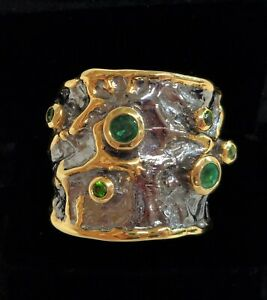 Fine Emerald and Diopside Band 925 Silver - Statement! - Handcrafted - Size R