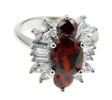 White Gold Filled Ornate Red Crystal Rhinestone Ring