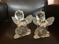 Vintage Avon Glass Angel Cherubs Candle Holders Pair