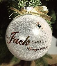 Personalized Memorial  Christmas Ornament With Genuine Swarovski Crystals