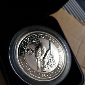 Australia kookaburra 2oz speciman Silver Proof Coin 1995 royal visit privy Mark.
