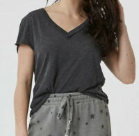 NWT Free People We the Free Size XS Kaylen Tee Shirt Black Charcoal Gray V Neck