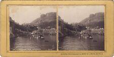 Monaco Vue générale Stéréo Albumine Vintage argentique ca 1900