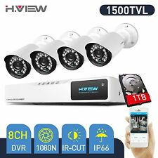 H.VIEW 8CH 1080N HD DVR 4x 1500TVL CCTV Cameras Outdoor Security System Kit 1TB