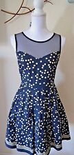 Anthropologie Dress Vintage Inspired Navy Beige Polka Dot 50's Small