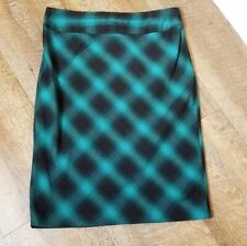 Grace Elements NWT Womens Size 10 Dark Teal Black Plaid Pencil Skirt Career Wear
